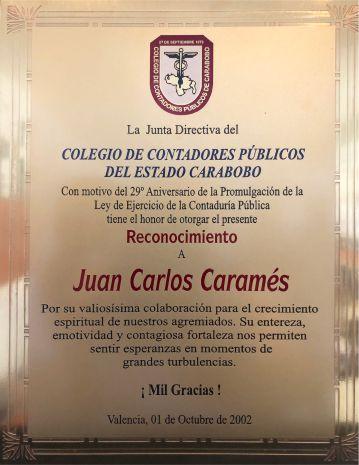 Reconocimiento Colegio de Contadores del Estado Carabobo, Venezuela a Juan Carlos Caramés Paz